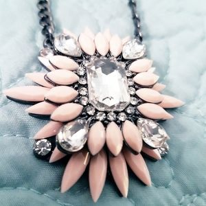 Statement Necklace Pink Rhinestone Jeweled